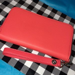 Coral faux leather wallet clutch w/ wristlet strap
